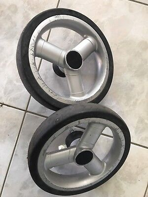 Pair Of REAR Wheels For Strider Compact  Pram Stroller Spare Part version.