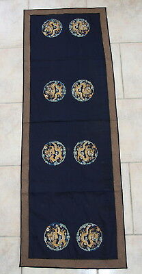 Antique Chinese Embroidered Silk Panel Gold Thread Textile Dragon 19th C. Qing