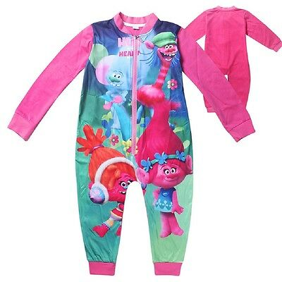 Lovely Trolls Baby Girls Romper Jump suit Sleepwear Kids  One Piece Pajamas  O14