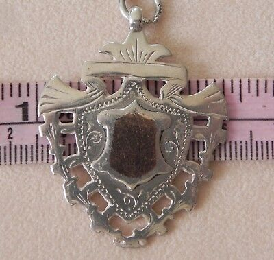 Antique Victorian Sterling Silver Rose Gold Two Side Watch Fob Awards Medal 1897