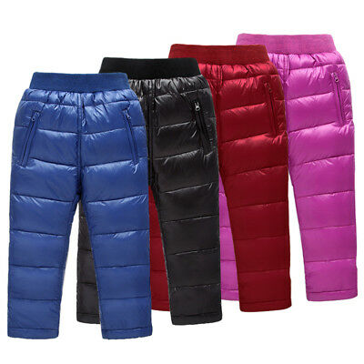 Hot Sale Kids Boys Girls Winter Warm Thick Pants Solid Bright Surface Waterproof