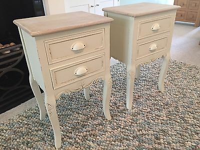 French Louis Style Shabby Chic Cream Distressed Two Drawer Bedside Cabinets