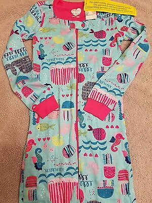 Girl's blue/pink one piece, seahorse/jellyfish/octopus/whale pajama size 5T NWT