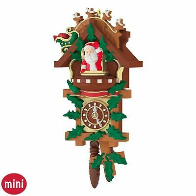 2016 Hallmark SANTA'S TINY TIMEKEEPER Cuckoo clock MINI Miniature ORNAMENT