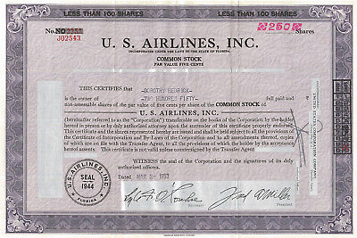 U. S. Airlines stock certificate > 1953 Florida