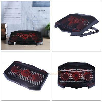 """12""""-17"""" Laptop Dual USB  LED 3 Fan Air Cooling Cooler Pad Adjustable Stand Red"""