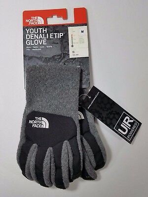 Nwt The North Face Youth Denali Etip Glove M, L Gray/ Black $25