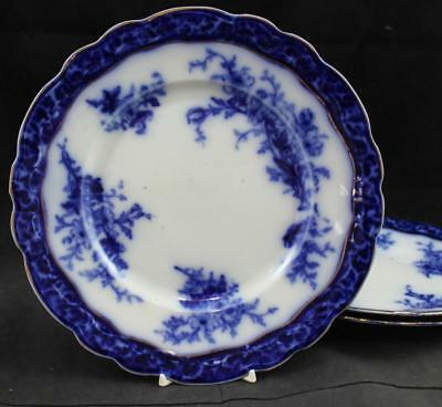 Stanley Pottery TOURAINE FLOW BLUE 3 Dinner Plates GREAT VALUE