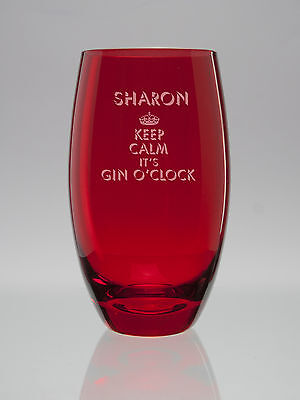 Personalised Engraved RED Curved Hi Ball Gin&Tonic/Vodka/Mixer Glass-Gift Boxed