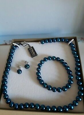 Honora Sterling Silver, Lapis Blue  Pearl Necklace. Earrings And Bracelet Set.