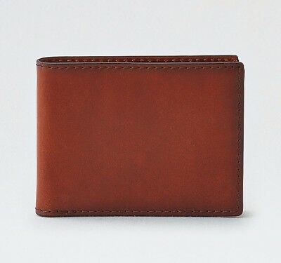 1 American Eagle Outfitters Mens BROWN Bifold Card Wallet 100% Genuine Leather