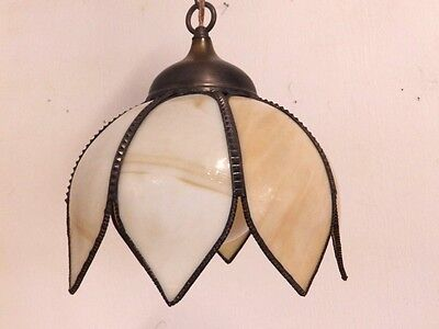 "Vintage Slag Glass 11"" Tulip Shade Hanging Chandelier Ceiling Lamp Light Fixture"