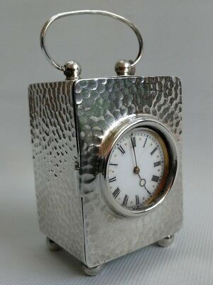 Vtg 1904 Solid Silver Carriage Mantle Desk Clock Hammered Cased Pocket Watch