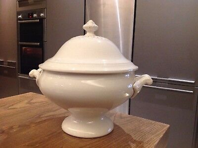 French antique white ironstone ceramic large soup tureen 30h 35w 28 cm wide bowl