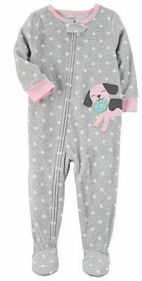 Carter's Baby Girl's 1-Piece Fleece Pajamas, Polka Dot Dog (6 Month), Grey/Pink