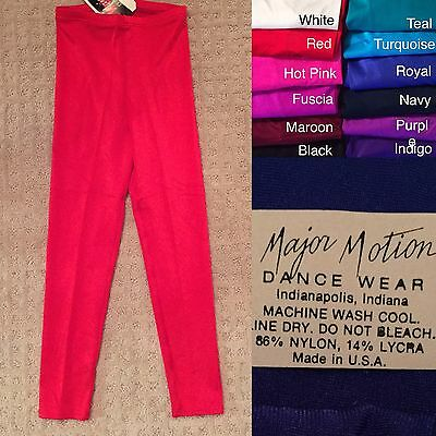 NWT Major Motion Leggings Pants Dance Skate Gymnastics Costume Var Colors/Sizes