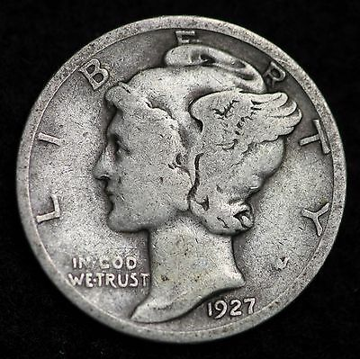 1927-D Mercury Dime / Circulated Grade Good / Very Good 90% Silver Coin