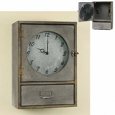 Vintage Style Metal Wall Or Table Top Clock Cabinet With Drawer