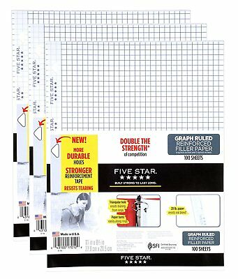 "Five Star Filler Paper, Graph Ruled, Reinforced, Loose-Leaf, 11 x 8 1/2"" Sheet"