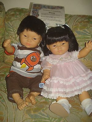 Lot of 2 Berjusa Anatomically Correct Boy AND Girl baby dolls Asian Oriental+COA
