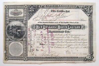 New Orleans & North Eastern Railroad Stock Cert 1892