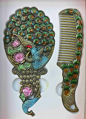 Collectible Handmade Cloisonne Carved Peacock Flower Pretty Cosmetic Mirror Comb