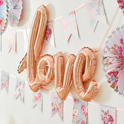 Truly Romantic Rose Gold Hanging Foil Love Script Phrase Balloon, incl. ribbon