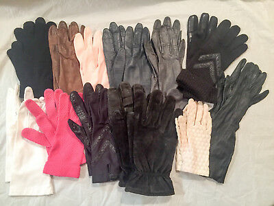 Lot 12 Vintage Gloves mostly Size 7 Leather and Nylon