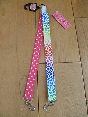 Marks And Spencer 2 Pack Pink Polka Dot Spot Rainbow Leopard Belts 1 2 3 4 Years