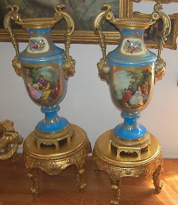 """Important Pair Large 19 C French Sevres  Snake Finial    & Wooden Base H=60"""""""