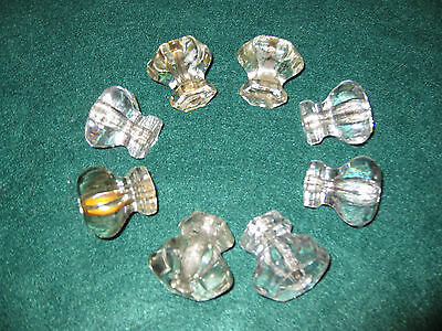 LOT A, 8 MATCHING ANTIQUE VINTAGE CRYSTAL DRAWER PULLS 1 1/2 WIDE x 1 3/8 TALL