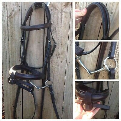 Brown leather full sz dlx padded hanoverian bridle with reins & eggbutt snaffle