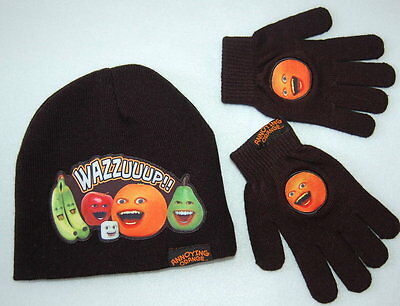 Boys Stocking HAT & GLOVES Annoying Orange WAZZUUUP!!