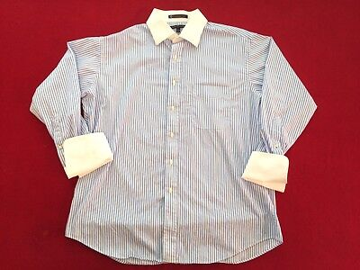 Vintage Tommy Hilfiger French Cuffs Dress Shirt Size Large Blue White Stripes