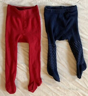 Lot of 2 Baby infant Girl Tights Cotton 0-6 months red and navy with white