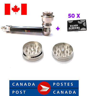 Hight Quality*Metal Pipe Tobacco Smoking Pipe LEAF+50 screens+ grinder*combo