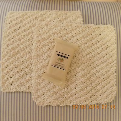 TWO ECRU KNITTED DISH CLOTHS or FACE CLOTHS PLUS 1.5 oz. ALMOND SOAP-GIFT SET