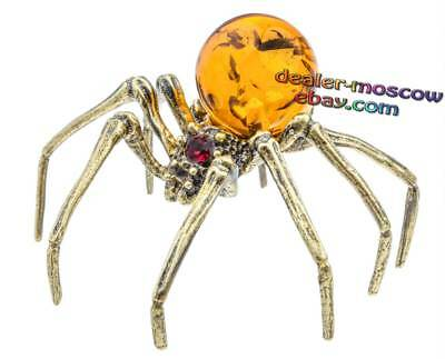 Bronze Solid Brass Baltic Amber Figurine Spider of Opiliones Miniature Statuette