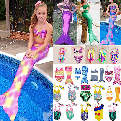 Girls Mermaid Tail Swimwear Swimsuit Beachwear Swimming Costumes Beach Bathers