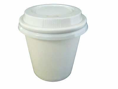 250 Sets 6oz White 177ml Single Wall Cups And Lids Paper Disposable Coffee