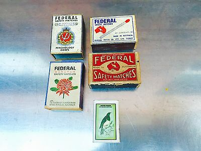 4 x Vintage Federal Match Box Safety Matches