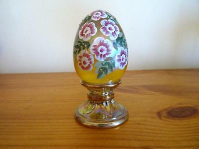 Fenton Glass J Watson Hand Painted Ltd Ed Egg #510/2500 Iridescent Topaz