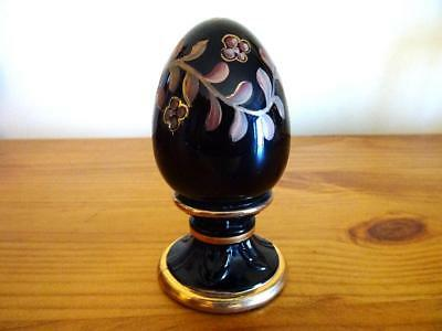 Fenton Glass A Meeks Hand Painted Ltd Ed Egg #29/2500 Jet Black