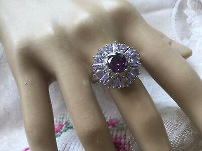 Antique Vintage Sterling Silver Ring with Amethysts large ring size 11 or W