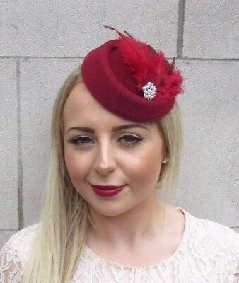 Burgundy Red Silver Feather Pillbox Hat Hair Fascinator Races Vintage Clip 3883