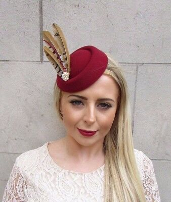 Pheasant Feather Wine Burgundy Red Pillbox Hat Hair Fascinator Races Clip 3884