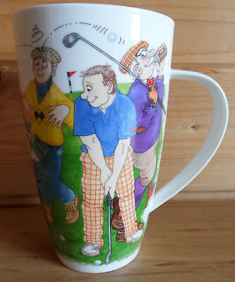 "Dunoon Fine Bone China Golf Mug Watch The Birdie by Cherry Denman 6"" Tall"