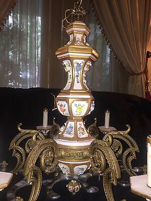 Porcelain & Brass 6 arm chandelier
