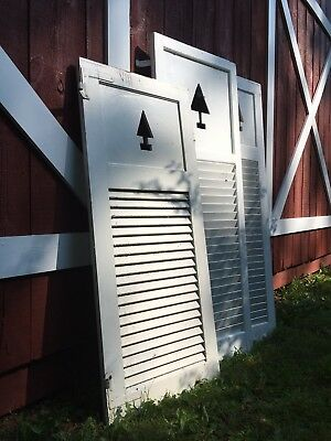 Antique White Wood shutters with Tree Cutout
