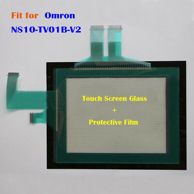 for Omron NS10-TV01B-V2, NS10TV01BV2 Touch Screen Glass + Protective Film New